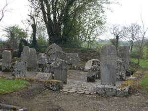 Collection of cross inscribed slabs at Clonmore